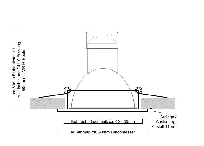 Hervorragend LED Einbauset LC Light schwarzes Kristall rund dimmbar WW71
