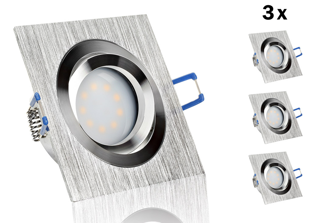 3 led einbauset flat spot lc light mit alu bicolor eckig for Flache led spots