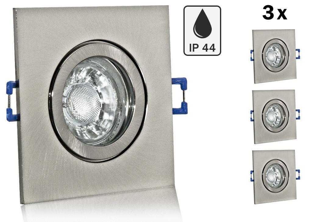 3 x ip44 led einbauset cob bioledex mit rahmen eisengeb. Black Bedroom Furniture Sets. Home Design Ideas