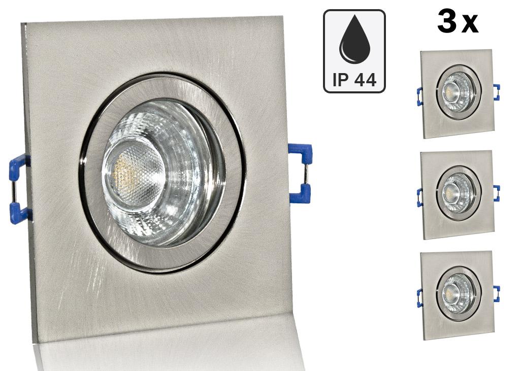 3 ip44 led einbauset lc light 5w alu spot geb rstet eckig. Black Bedroom Furniture Sets. Home Design Ideas