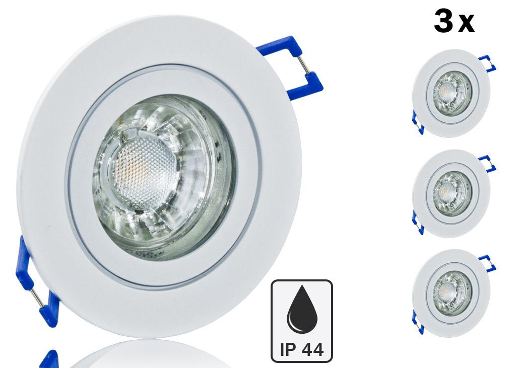 3er ip44 led einbauset cob bioledex alu spot wei rund. Black Bedroom Furniture Sets. Home Design Ideas