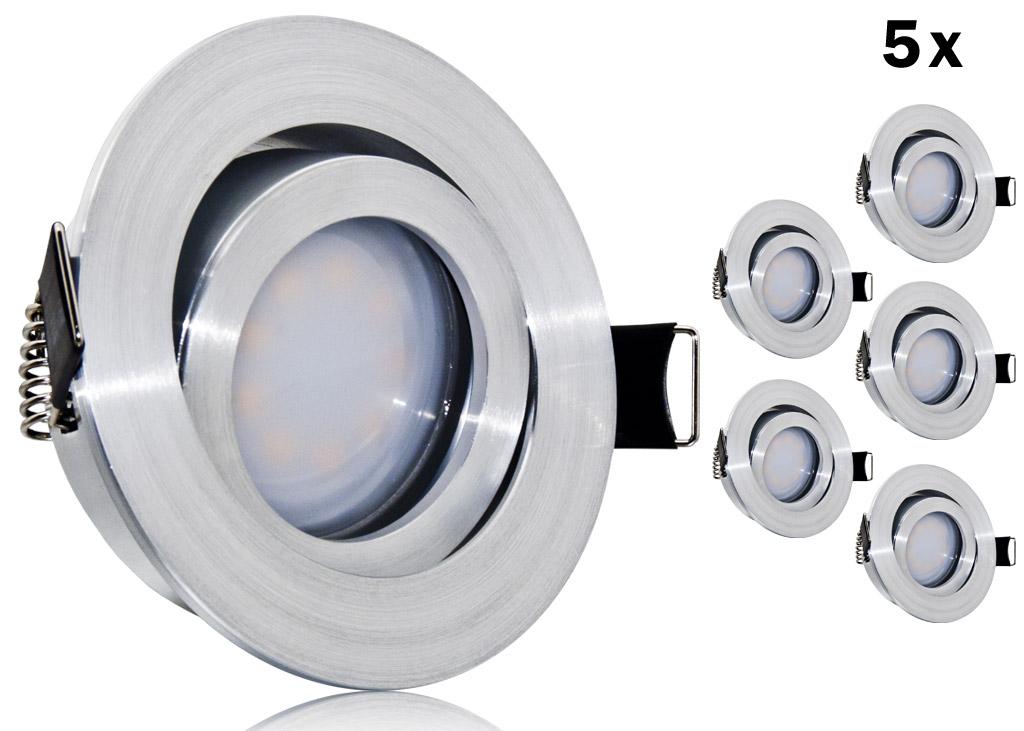 5er led einbauset flat spot lc light alu feinschliff rund. Black Bedroom Furniture Sets. Home Design Ideas