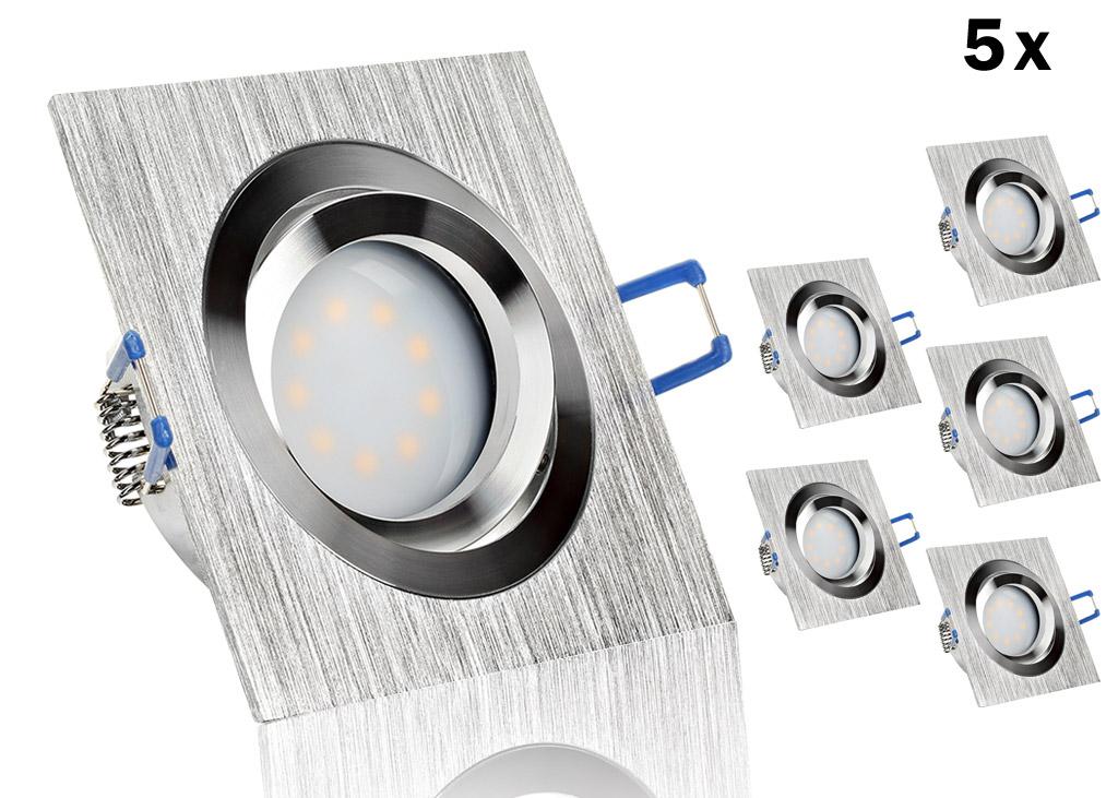 5 led einbauset flat spot lc light mit alu bicolor eckig. Black Bedroom Furniture Sets. Home Design Ideas