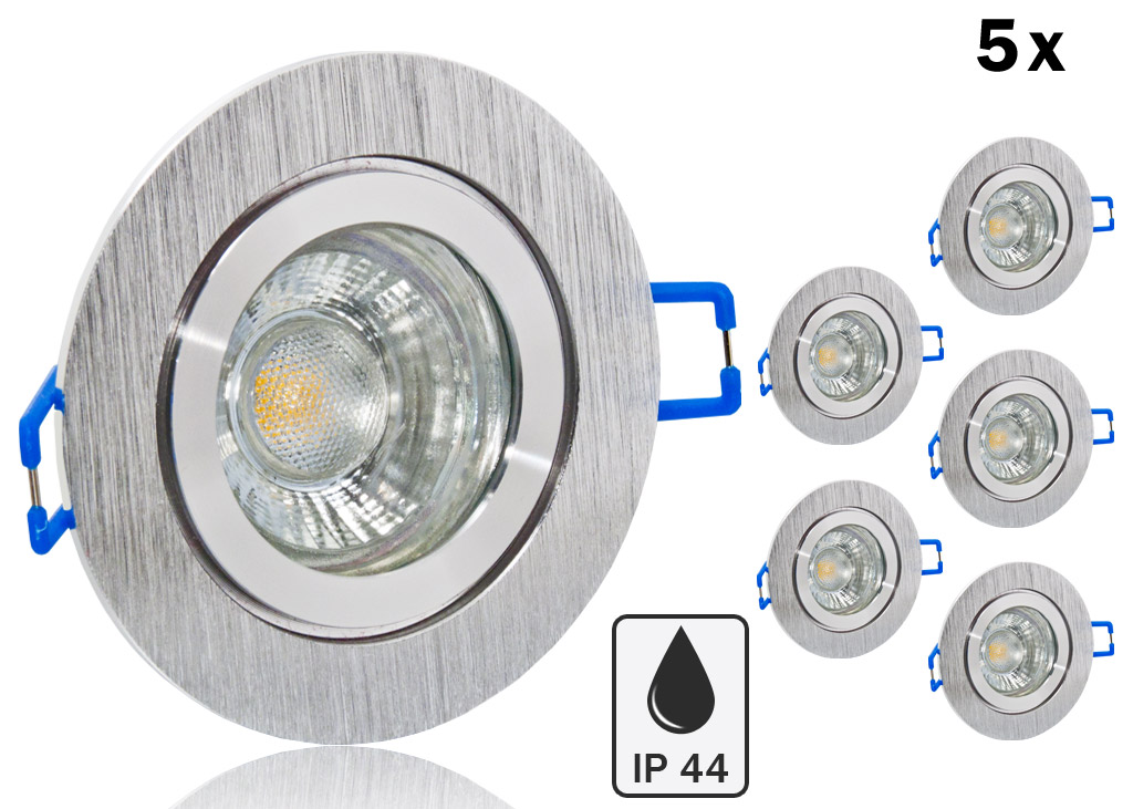5 Ip44 Led Einbauset Lc Light 5w Alu Spot Bicolor Rund
