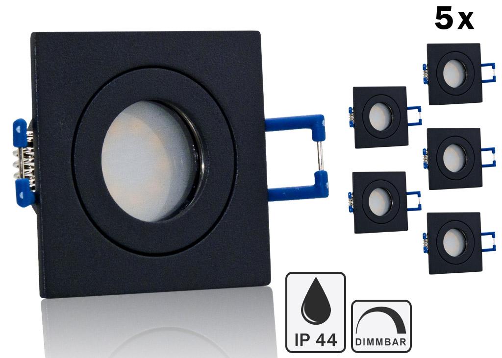 5 ip44 led einbauset lc light 3w 9 smd spot anthrazit eck. Black Bedroom Furniture Sets. Home Design Ideas