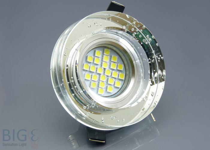 Einbaurahmen klares kristallglas rund blubber for Billige led deckenleuchten
