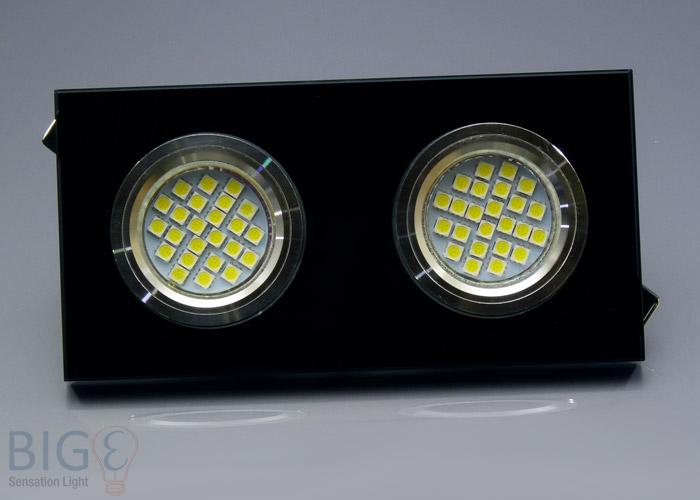 Doppel einbaurahmen schwarzes kristallglas flach for Billige led deckenleuchten