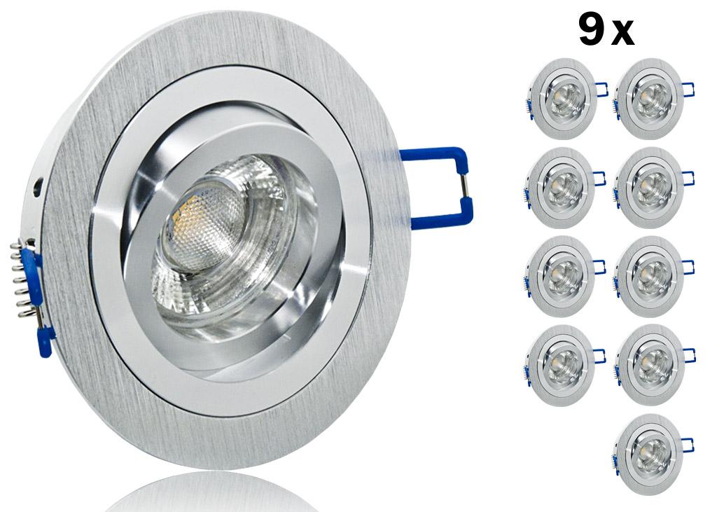 9er led einbauset 9 smd lc light mit alu bicolor rahmen for Led einbaustrahler