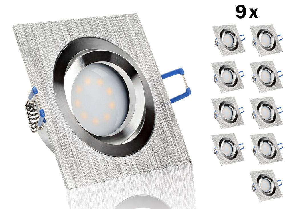 9 led einbauset flat spot lc light mit alu bicolor eckig. Black Bedroom Furniture Sets. Home Design Ideas