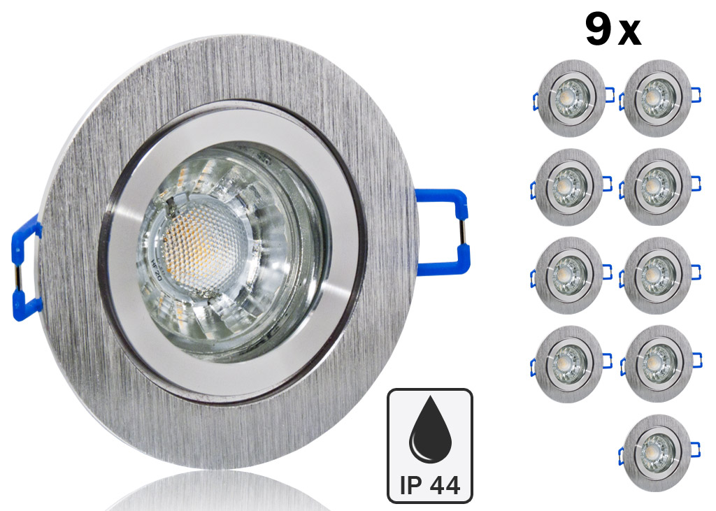 9 ip44 led einbauset bioledex mit alu rahmen bicolor rund. Black Bedroom Furniture Sets. Home Design Ideas