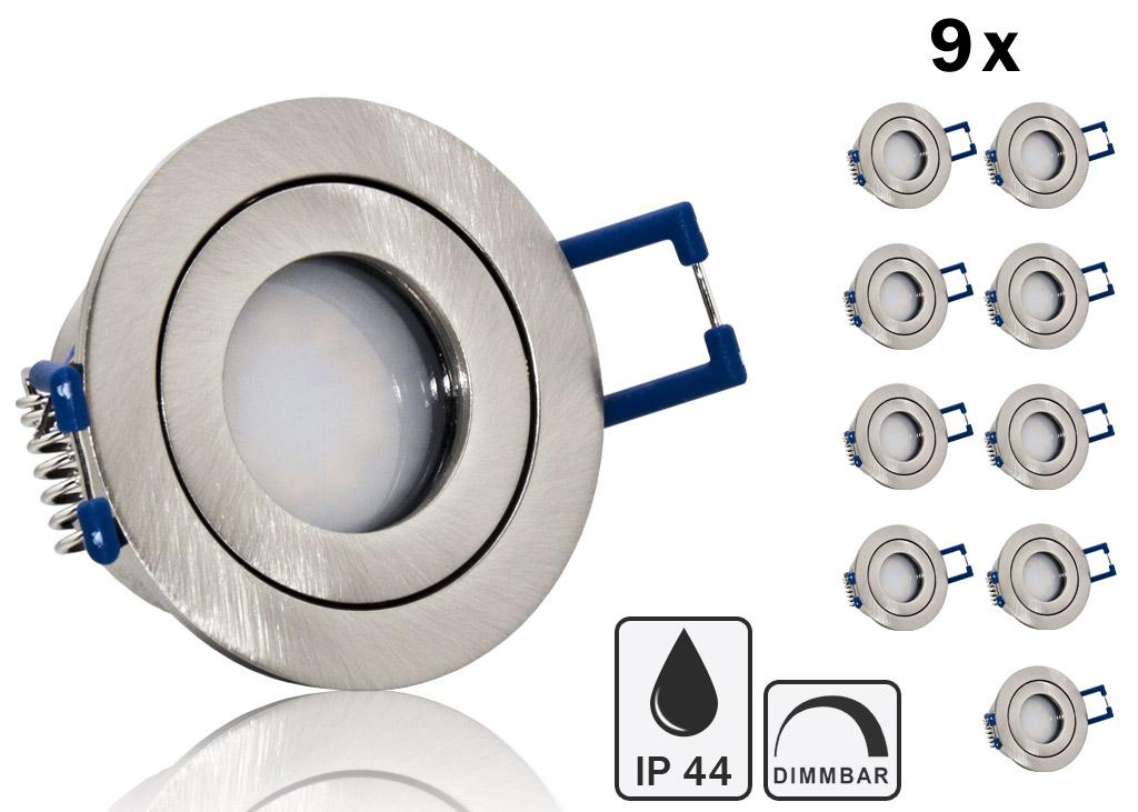 9 ip44 led einbauset lc light 3w 9 smd spot geb rstet run. Black Bedroom Furniture Sets. Home Design Ideas