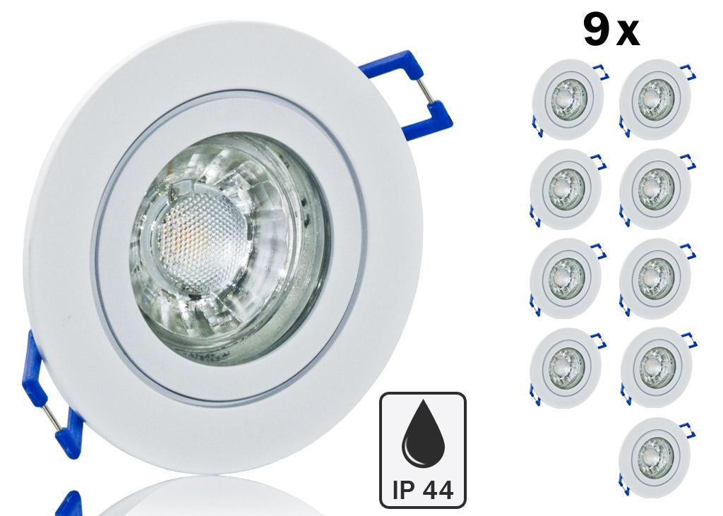 9er ip44 led einbauset cob bioledex alu spot wei rund. Black Bedroom Furniture Sets. Home Design Ideas