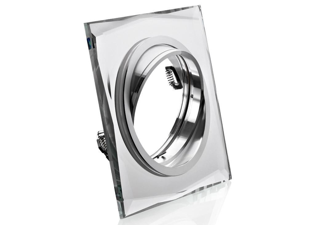 Einbaurahmen aus kristallglas klar rund ar111 es111 for Billige led deckenleuchten