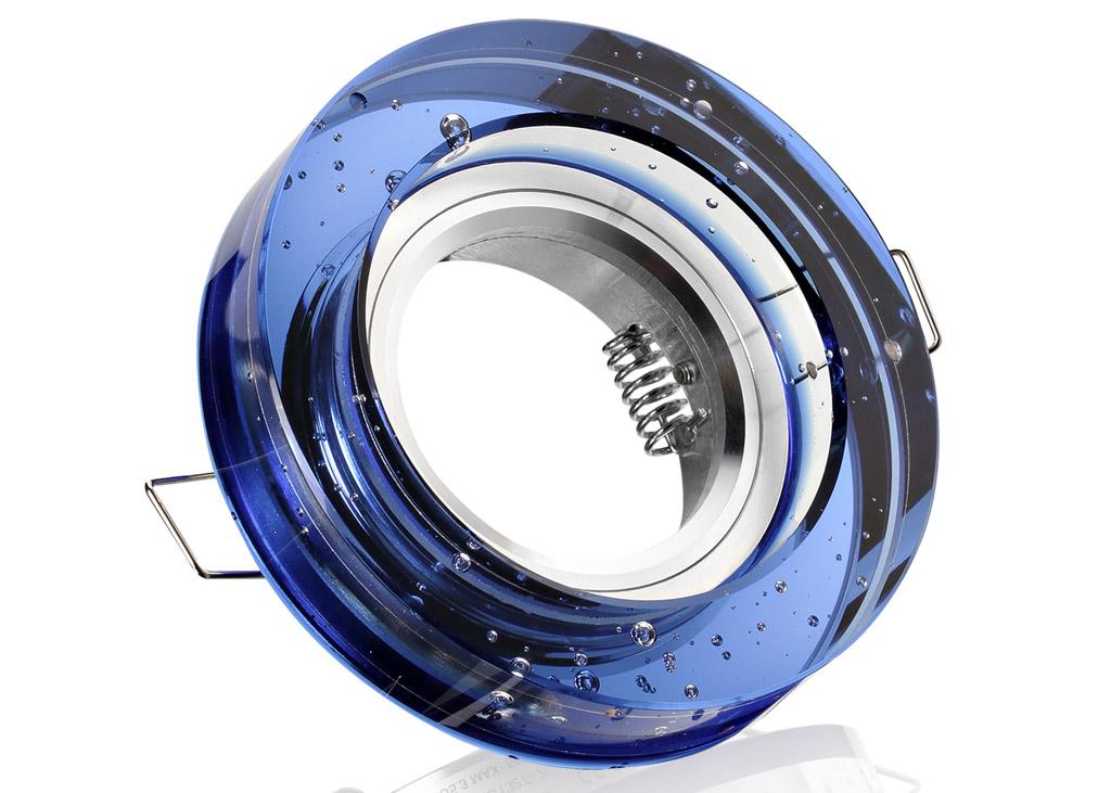 Einbaurahmen blaues kristallglas rund blubber for Billige led deckenleuchten