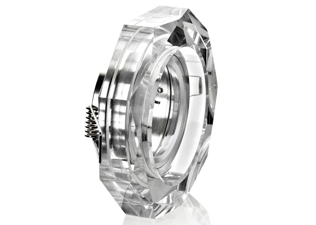 Einbaurahmen klares kristallglas stern gu10 for Billige led deckenleuchten