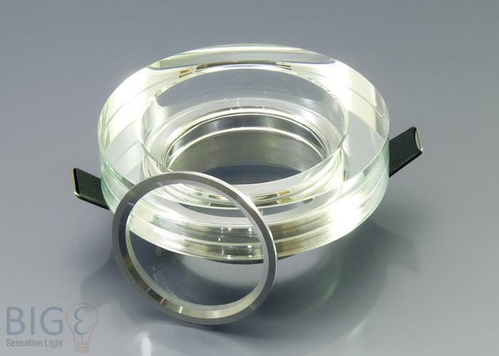 Einbaurahmen klares kristallglas rund gu10 for Billige led deckenleuchten