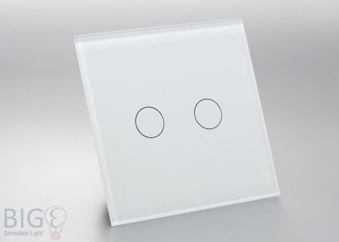 glas touch schalter 2 fach wei 80x80mm. Black Bedroom Furniture Sets. Home Design Ideas
