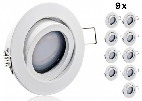 9 led einbauset flat spot lc light alu druckgu rund wei. Black Bedroom Furniture Sets. Home Design Ideas