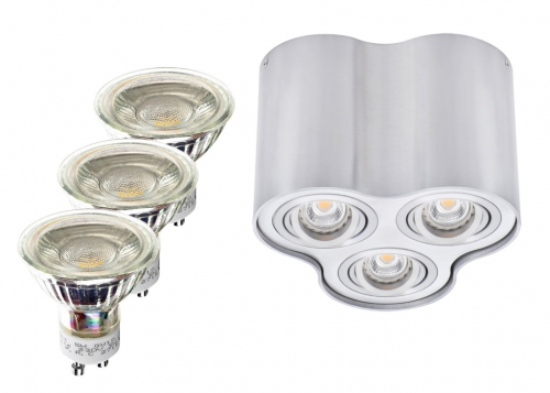 3er LED Aufbaustrahler Set halbrund Aluminium matt mit LED Markenspots LC Light 5 Watt