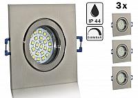 3er Feuchtraum LED Einbaustrahler Set IP44 Aluminium eisengebuerstet eckig mit Marken GU10 LED Spot Nextec 5 Watt Klarglas dimmba