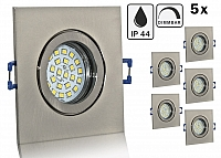 5er Feuchtraum LED Einbaustrahler Set IP44 Aluminium eisengebuerstet eckig mit Marken GU10 LED Spot Nextec 5 Watt Klarglas dimmba
