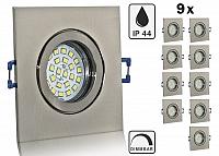 9er Feuchtraum LED Einbaustrahler Set IP44 Aluminium eisengebuerstet eckig mit Marken GU10 LED Spot Nextec 5 Watt Klarglas dimmba