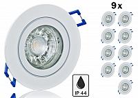 9er Feuchtraum LED Einbaustrahler Set IP44 Weiss rund mit Marken GU10 LED Spot Bioledex Helso 3 Watt COB