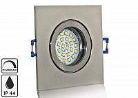 Feuchtraum LED Einbaustrahler Set IP44 Aluminium eisengebuerstet eckig mit Marken GU10 LED Spot Nextec 5 Watt Klarglas dimmbar