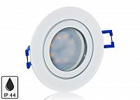 Feuchtraum LED Einbaustrahler Set IP44 Weiss rund mit Marken GU10 LED Spot Nextec 5 Watt