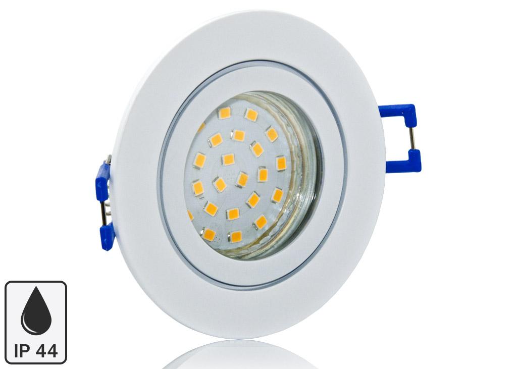 LED Einbaustrahler Set IP44 mit weißem Aluminium Rahmen